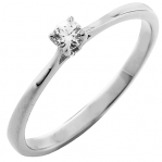 Solitaire or blanc 750 ‰ serti griffes 0,10 ct