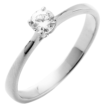 Solitaire or blanc 750 ‰ serti griffes 0,15 ct