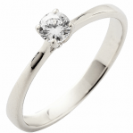 Solitaire or blanc 750 ‰ serti griffes 0,20 ct