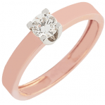 Solitaire or rose et or blanc 750 ‰ serti griffes 0,30 ct