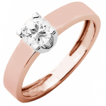 Solitaire or rose et or blanc 750 ‰ serti griffes 0,40 ct