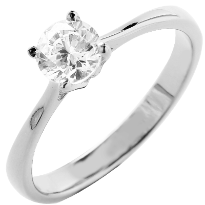 Solitaire or blanc 750 ‰ serti griffes 0,50 ct
