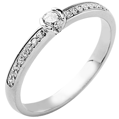 Solitaire or blanc 750 ‰ accompagné 0,32 ct