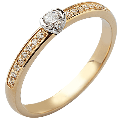 Solitaire or jaune 750 ‰ accompagné 0,32 ct