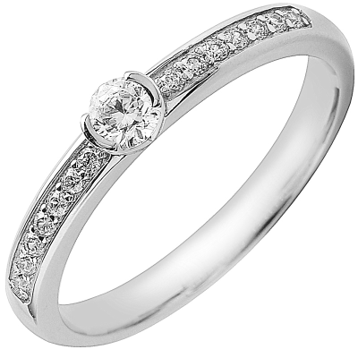 Solitaire or blanc 750 ‰ accompagné 0,40 ct