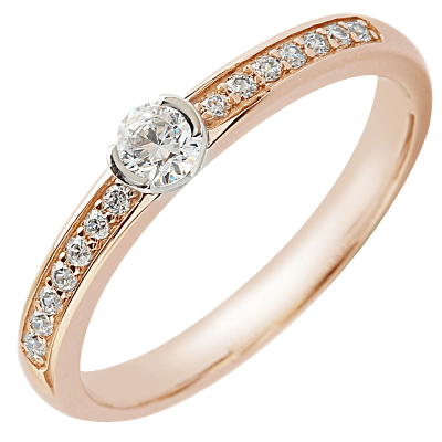 Solitaire or jaune 750 ‰ accompagné 0,40 ct