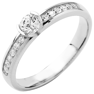 Solitaire or blanc 750 ‰ accompagné 0,48 ct