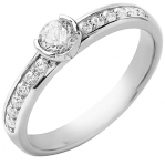 Solitaire or blanc 750 ‰ accompagné 0,63 ct