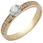 Solitaire or jaune 750 ‰ accompagné 0,63 ct