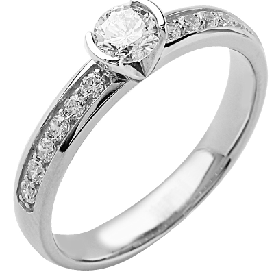 Solitaire or blanc 750 ‰ accompagné 0,80 ct