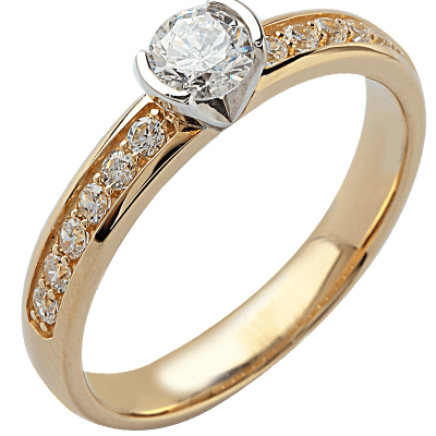 Solitaire or jaune 750 ‰ accompagné 0,80 ct