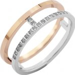 Alliance demi-tour or blanc et or rose 750 ‰ sertie grains 0,07 ct