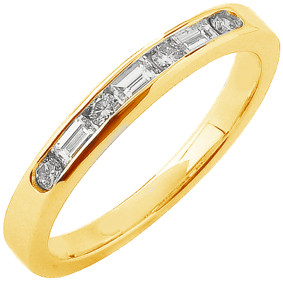 Alliance demi-tour or jaune 750 ‰ princesse & brillants 0,36 ct