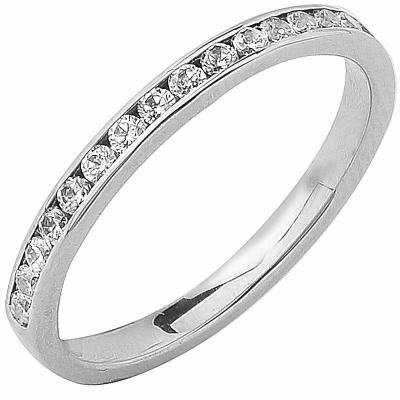 Alliance Séduction demi-tour or blanc 750 ‰ sertie rail mince 0,30 ct