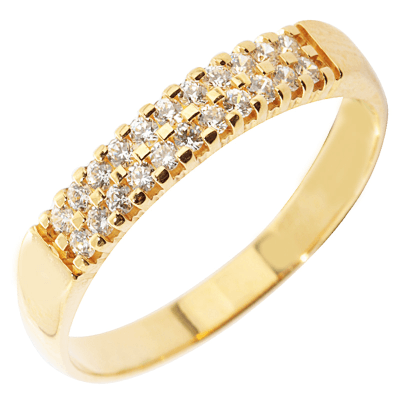 Bague multirangs or jaune 750 ‰  sertie griffes 0,20 ct