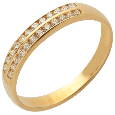 Bague multirangs or jaune 750 ‰  sertie rail 0,10 ct