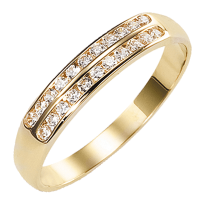 Bague multirangs or jaune 750 ‰  sertie rail 0,20 ct