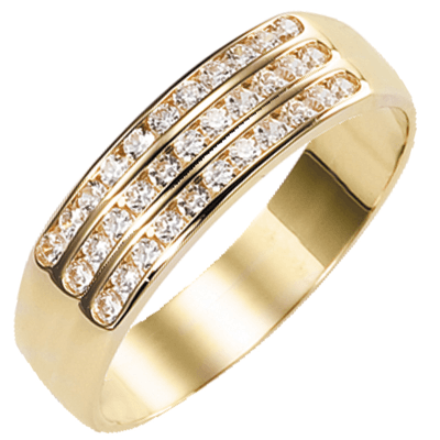 Bague multirangs or jaune 750 ‰  sertie rail 0,30 ct