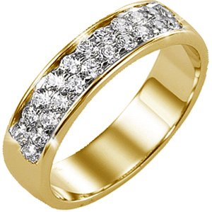 Bague multirangs or jaune 750 ‰  sertie rail 0,50 ct