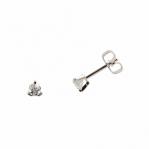 Boucles d'oreilles clou or blanc 750 ‰ serties 3 griffes 0,06 ct