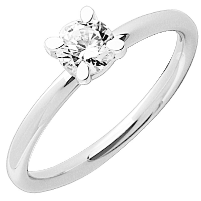 Solitaire or blanc 750 ‰ serti griffes 0,40 ct