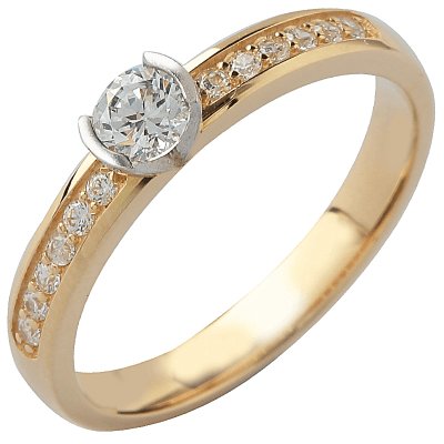 Solitaire or jaune 750 ‰ accompagné 0,48 ct