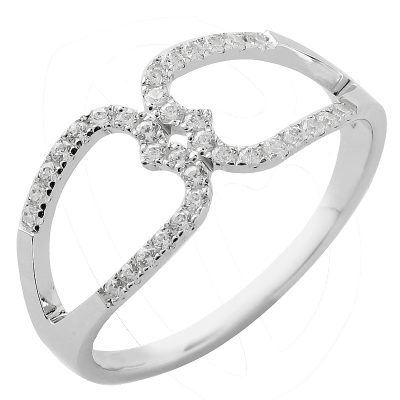 Bague Arabesque or blanc 750 ‰  0,16 ct