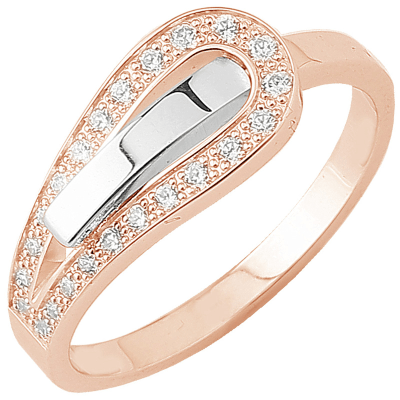 Bague Serment d'amour or blanc et or rose 750 ‰  0,16 ct