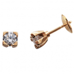 Boucles d'oreilles clou or jaune 750 ‰ serties 4 griffes 0,60 ct