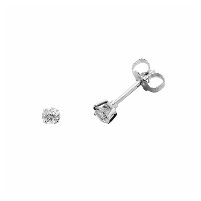 Boucles d'oreilles clou or blanc 750 ‰ serties 4 griffes 0,06 ct