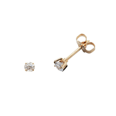 Boucles d'oreilles clou or jaune 750 ‰ serties 4 griffes 0,08 ct