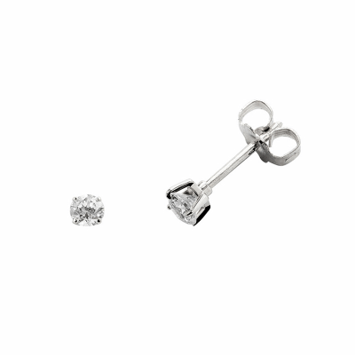 Boucles d'oreilles clou or blanc 750 ‰ serties 4 griffes 0,10 ct