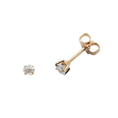 Boucles d'oreilles clou or jaune 750 ‰ serties 4 griffes 0,10 ct