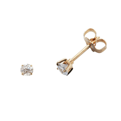 Boucles d'oreilles clou or jaune 750 ‰ serties 4 griffes 0,20 ct