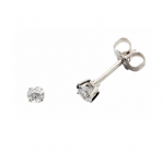 Boucles d'oreilles clou or blanc 750 ‰ serties 4 griffes 0,25 ct
