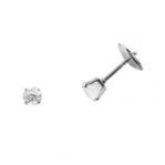 Boucles d'oreilles clou or blanc 750 ‰ serties 4 griffes 0,30 ct