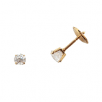 Boucles d'oreilles clou or jaune 750 ‰ serties 4 griffes 0,35 ct