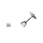 Boucles d'oreilles clou or blanc 750 ‰ serties 4 griffes 0,40 ct