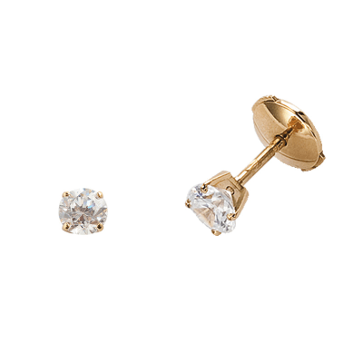 Boucles d'oreilles clou or jaune 750 ‰ serties 4 griffes 0,45 ct