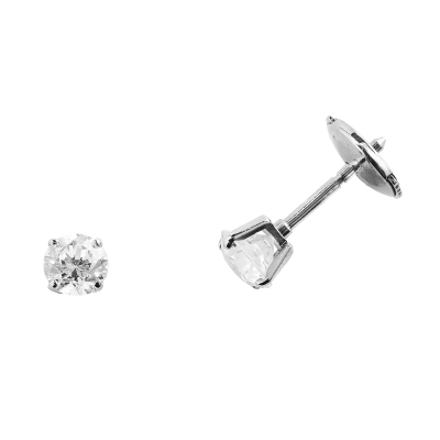 Boucles d'oreilles clou or blanc 750 ‰ serties 4 griffes 0,60 ct