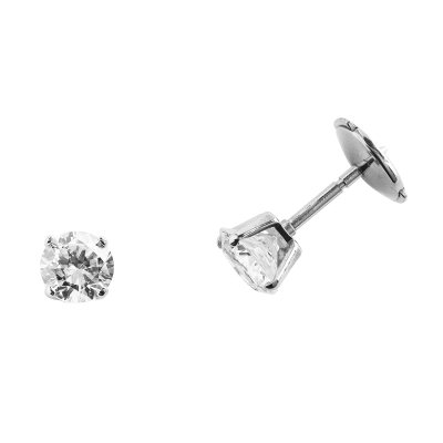 Boucles d'oreilles clou or blanc 750 ‰ serties 4 griffes 0,80 ct