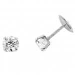 Boucles d'oreilles clou or blanc 750 ‰ serties 4 griffes 1,20 ct