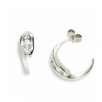 Boucles d'oreilles clou or blanc 750 ‰ serties 4 griffes 0,30 ct