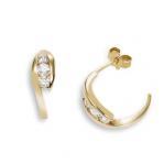 Boucles d'oreilles clou or jaune 750 ‰ serties 4 griffes 0,30 ct