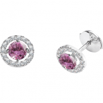 Boucles d'oreilles clou or blanc 750 ‰ serties 4 griffes 1,08 ct