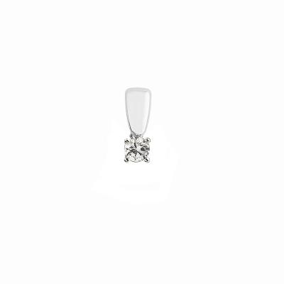 Pendentif or blanc 750 ‰ serti 4 griffes 0,10 ct