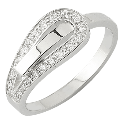 Bague Serment d'amour or blanc 750 ‰  0,16 ct