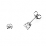 Boucles d'oreilles clou or blanc 750 ‰ serties 4 griffes 0,50 ct