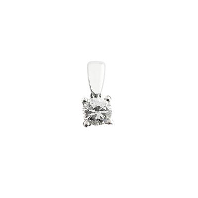 Pendentif or blanc 750 ‰ serti 4 griffes 0,30 ct